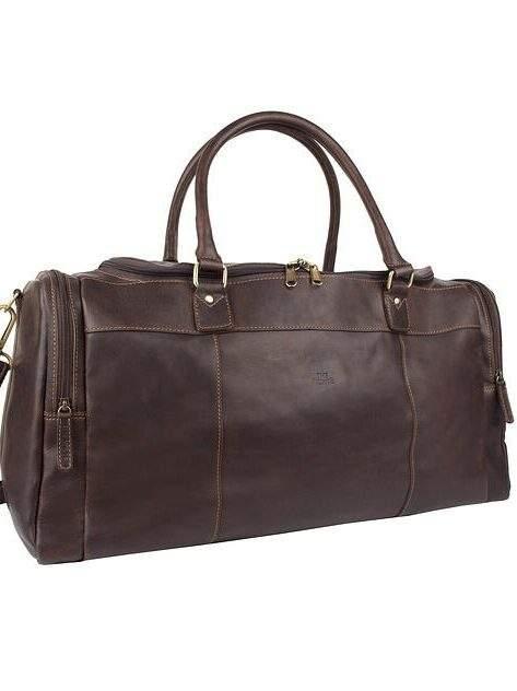 Weekendbag i skinn brun & svart